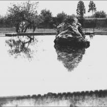 Vista de l'estany del jardí del Convent del Bon Consell. 1950.