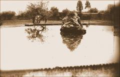 Vista del estanque del jardín del Convento del Buen Consejo. 1950. Archivo Histórico de Les Corts (AHLC).